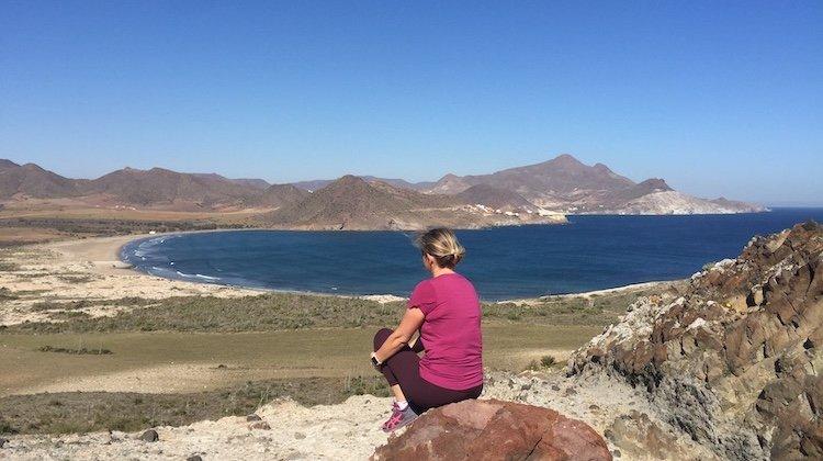 Blue sky and sandy bay of Playa de los Genoveses