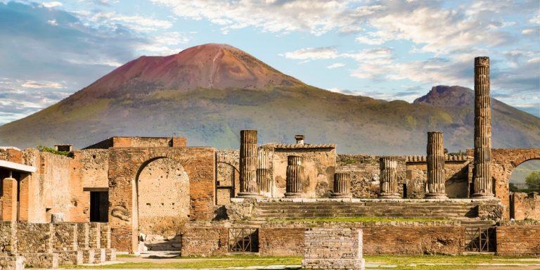 Pompeii with Vesuvius in the background