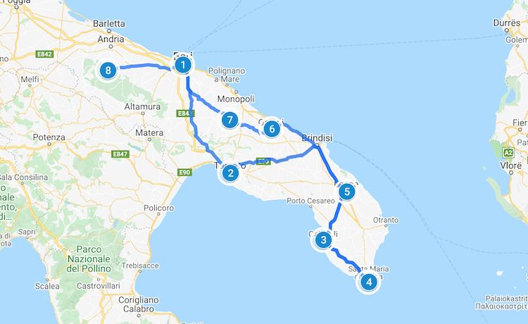 Puglia Road Trip map