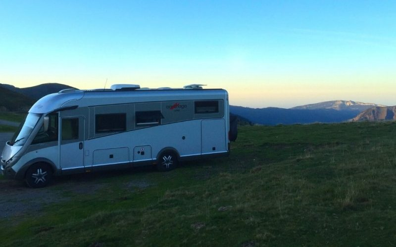 motorhome at dusk in the mountains of France