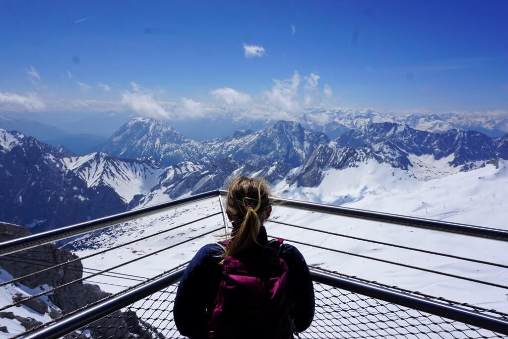 View to Switzerland from the summit of the Zugspitze