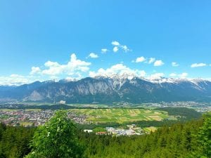 View across Innsbruck to the snow capped Nordkette mountain range