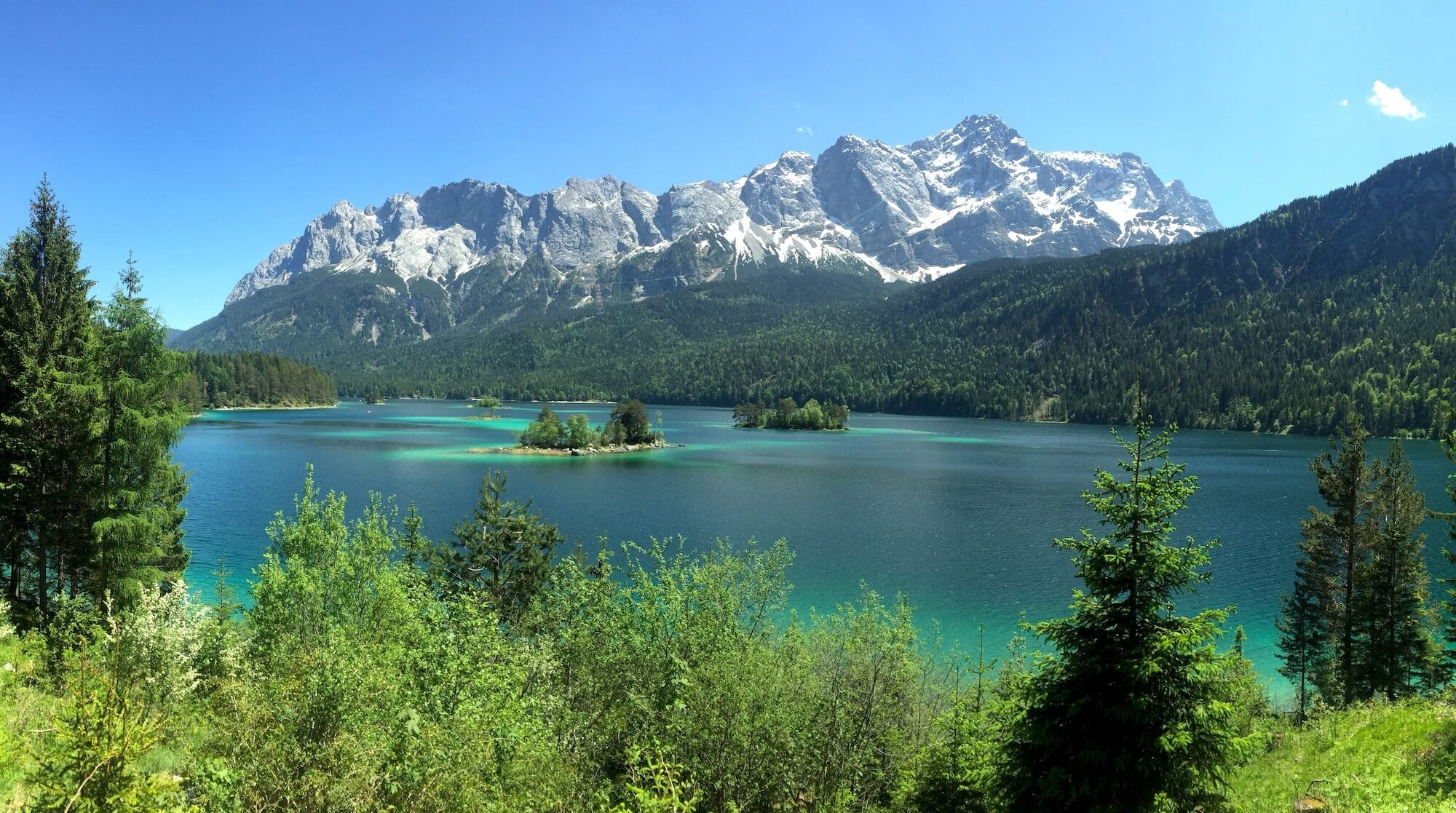 View of the Zugspitze across Eibsee