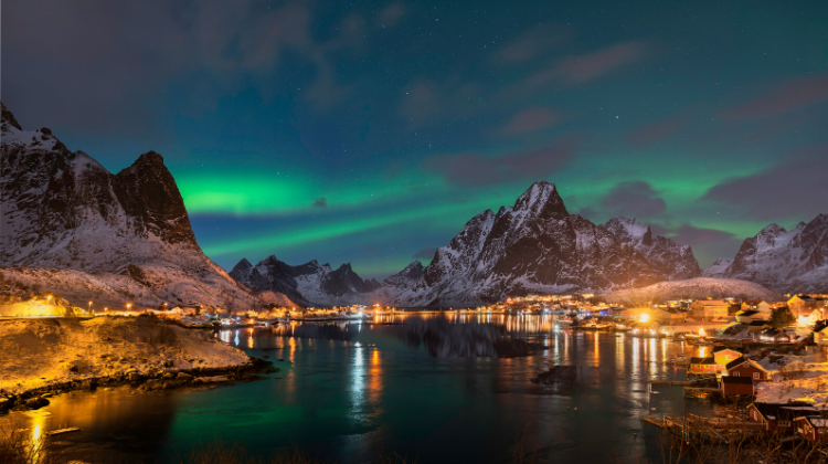 Reine in Norway, one of the best places to travel in January for the northern lights