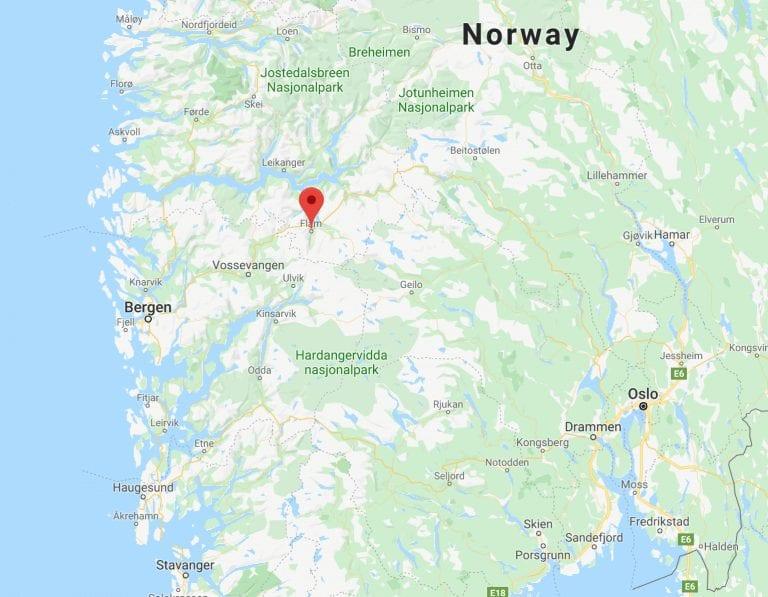 Flåm Norway map