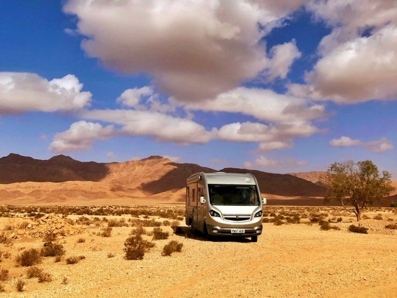 motorhome parked in the desert of Morocco