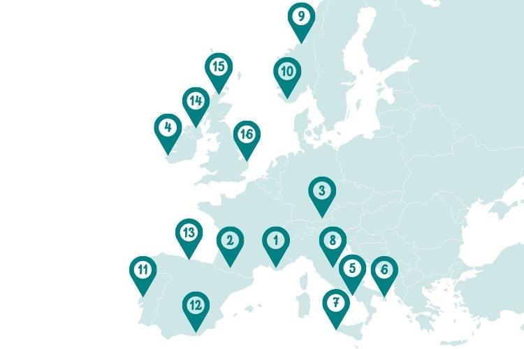 Best road trips Europe map