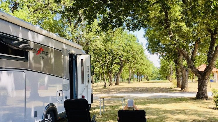 relaxing by the motorhome in Provence, France