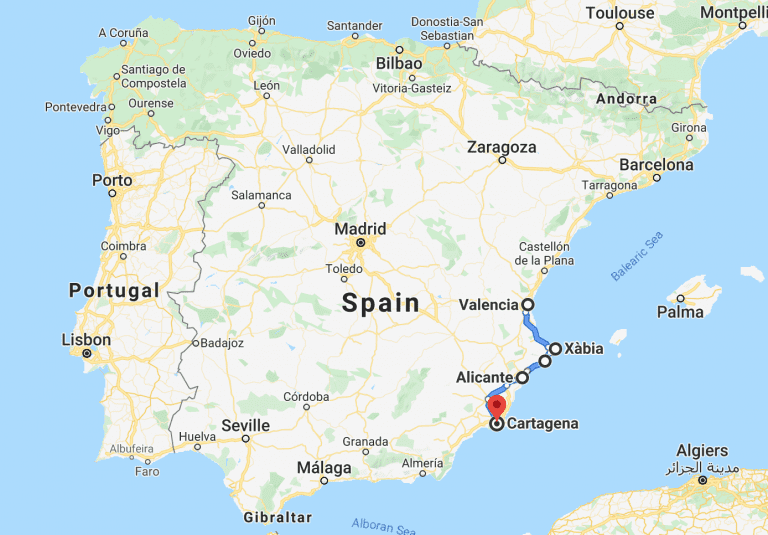 Costa Blanca trip to Spain itinerary and map