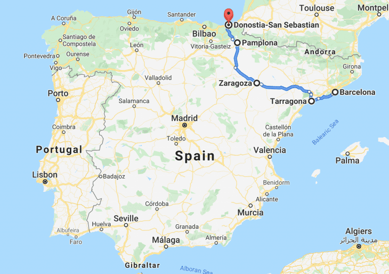 Spain road trip 1 week itinerary and map