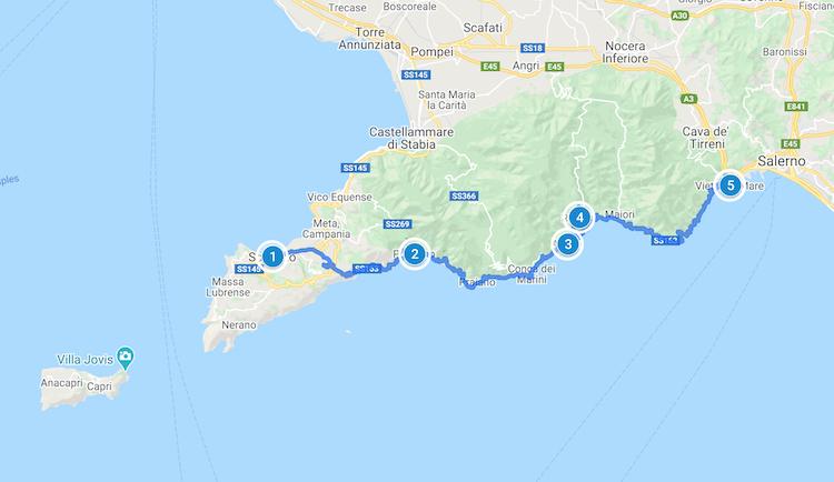 Amalfi Coast Road Trip Map