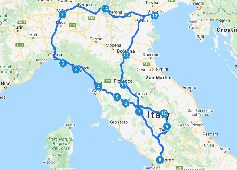 Italy road trip map