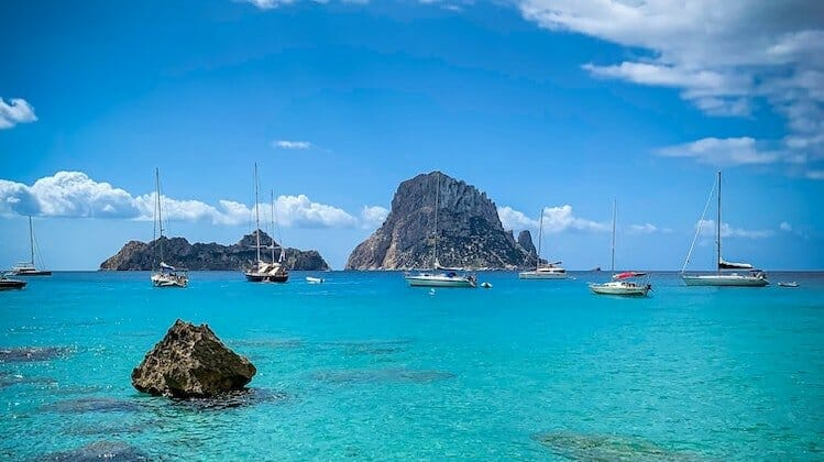 Ibiza, one of the warm places to visit in January in Europe