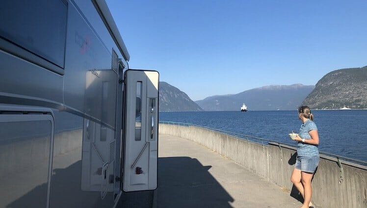 waiting fo the boat in Norway on a motorhome Europe tour