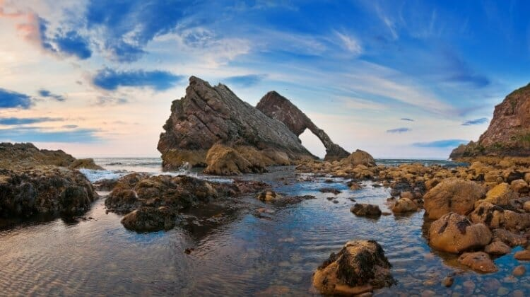 Bow Fiddle Rock on the NE250, one of the best driving tours of Scotland