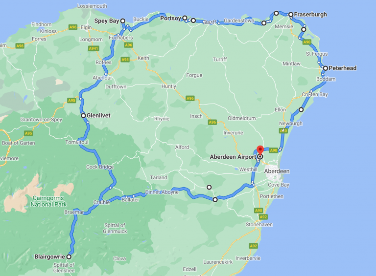 Scottish Highland road trip route and map