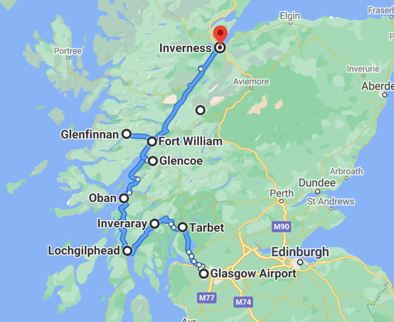 Scottish road trip map showing some of the best roads to drive in Scotland
