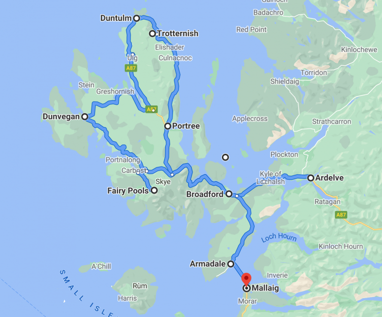 Skye road tip map with some of the best scenic drives in Scotland