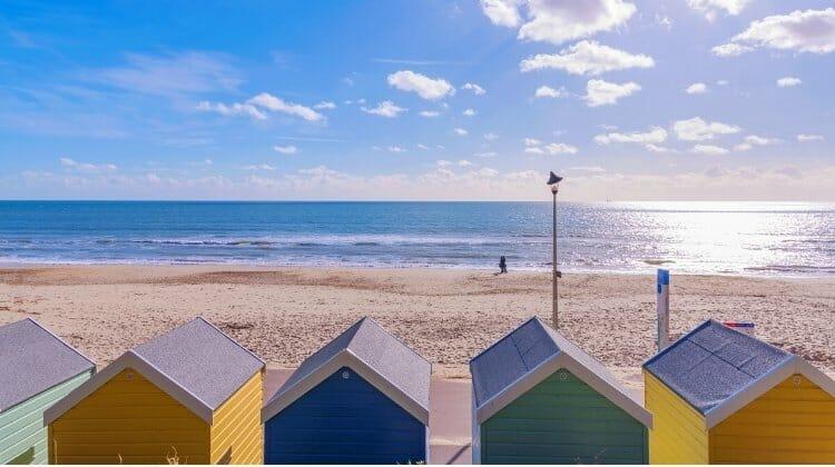 Colourful beachuts facing bournemouth beach