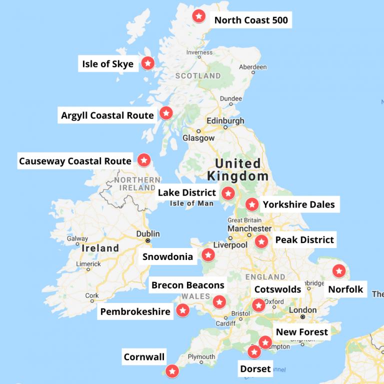 Scotland, Wales, N. Ireland and England road map UK