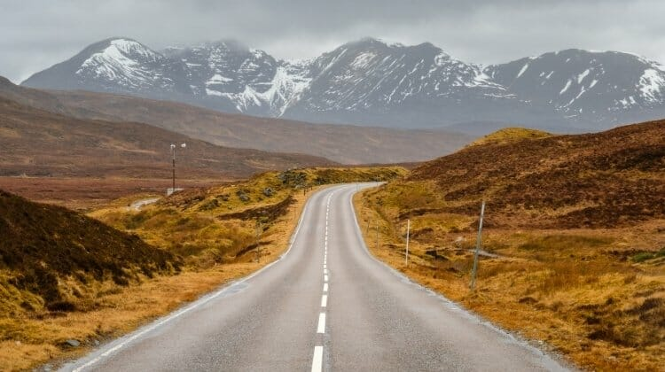 scottish road into the Highlands in winter