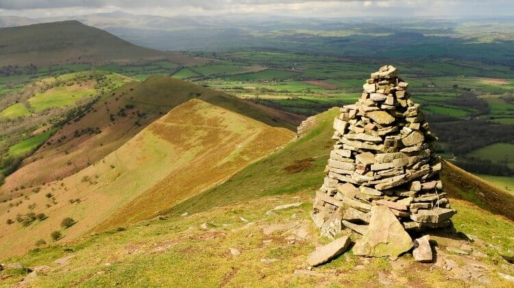 Stone cairn at the summit of Pen-y-Fan in the Brecon Beacons Wales