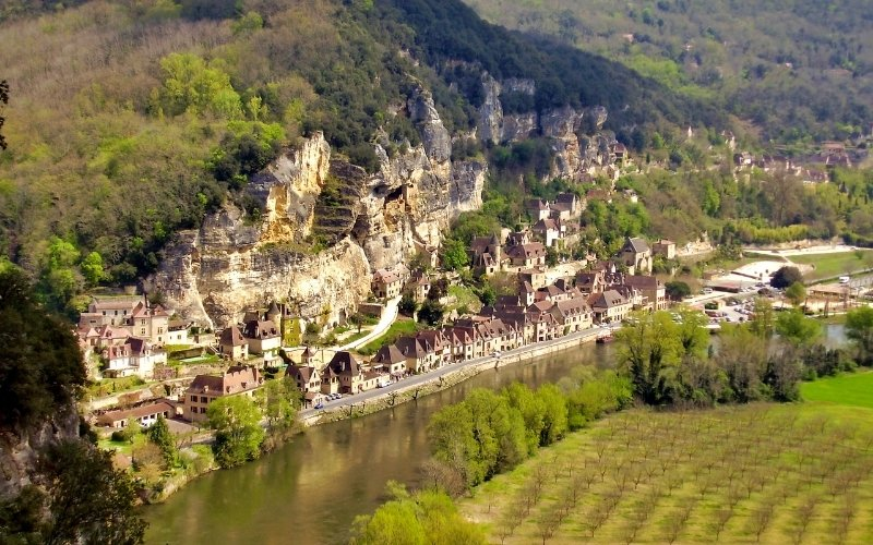 medieval town on the banks of a river