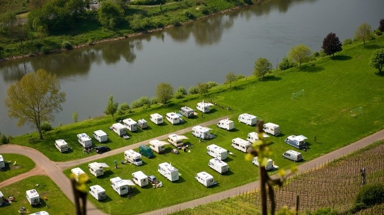 Motorhomes camping on the Moselle