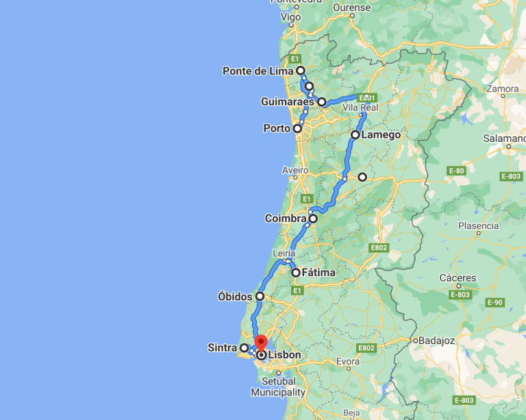 Portugal 10 day road trip map