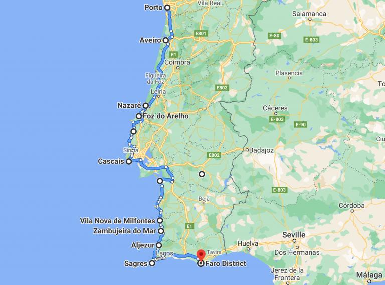 Porto to Lisbon road trip
