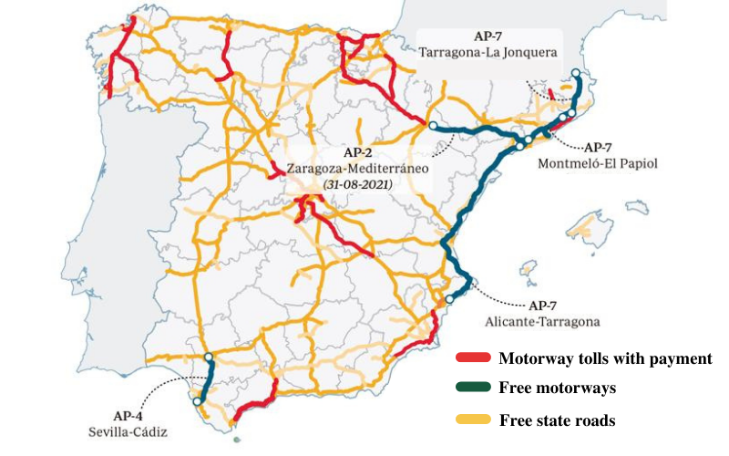 map of tolls in Spain