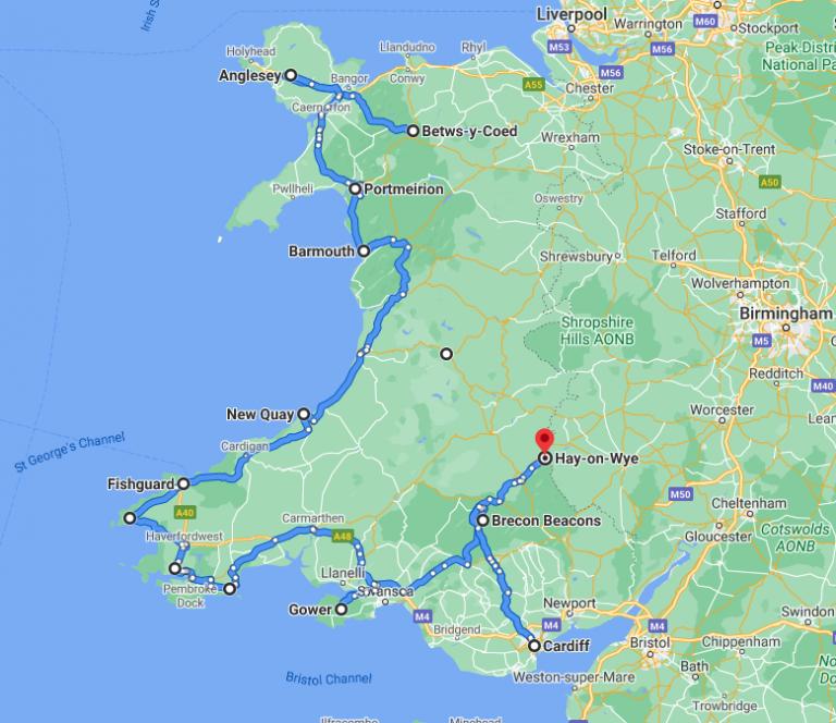 Wales road trip map