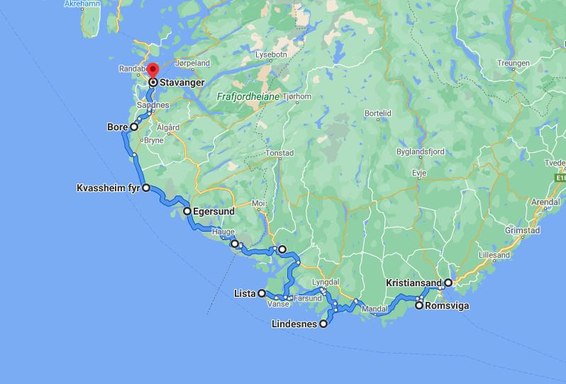 road trip Norway map