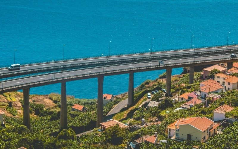 traffic on a bridge by the sea in Portugal