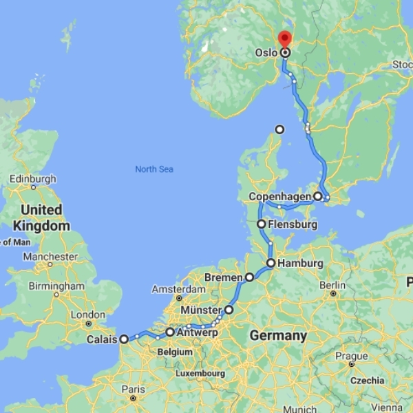 Map of UK to Norway bridges route