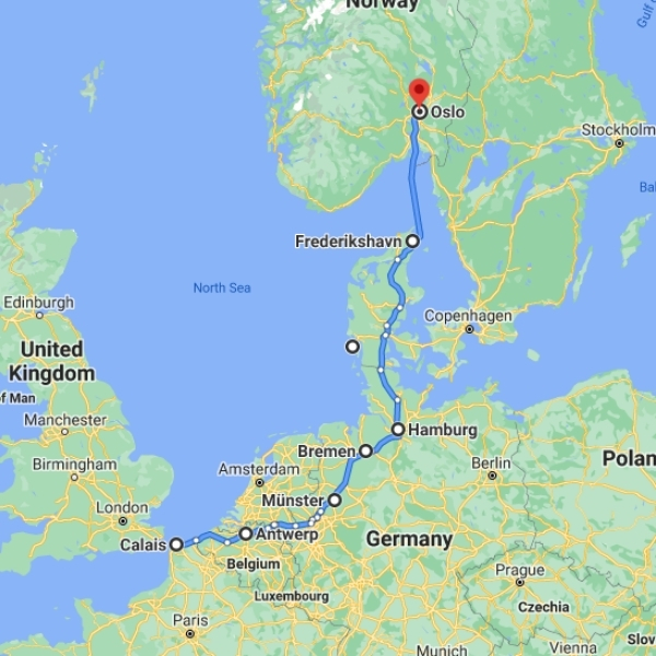map Denmark to Norway ferry