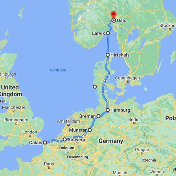 map Hirtshals to Norway ferry routes