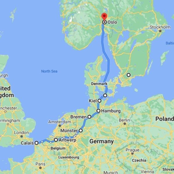 map Kiel to Oslo ferry crossing