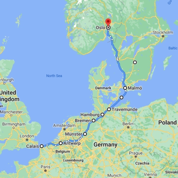 Germany to Sweden ferry map